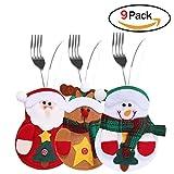 Sunei.f 9 piezas navidad, tenedor y cuchillo, disfraz de cubiertos, decoración de mesa (3 alces, 3 muñecos de nieve, 3 Papá Noel)