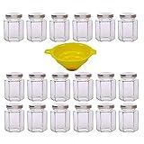Viva Haushaltswaren - 18 x kleines Einmachglas 110 ml mit silberfarbenem Deckel, sechseckige Glasdosen als Marmeladengläser, Gewürzdosen, Gastgeschenk etc. verwendbar (inkl. Trichter)