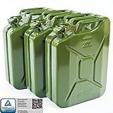 3x Oxid7® Benzinkanister Kraftstoffkanister Metall 20 Liter Olivgrün mit UN-Zulassung