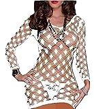PICCOLI MONELLI Vestito Erotico Donna Sexy a Rete Elasticizzato con Manica Tre Quarti tg Unica Colore Bianco
