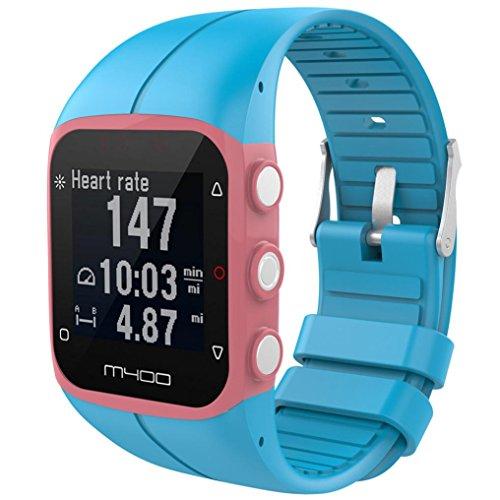 para reloj polar m400 correas colores bandas de reemplazo suave silicona correas pulsera para POLAR M430 GPS reloj smartwatch, ancho de banda 23MM by Sannysis (Azul)