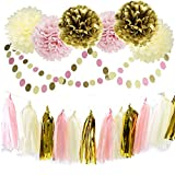 Furuix 20pcs Pink Cream Gold Tissue Paper Pom Pom Flower with Paper Tassel Garland Circle Garland for Pink Gold Birthday Wedding Party Decoration Baby Shower Bridal Shower Decoration