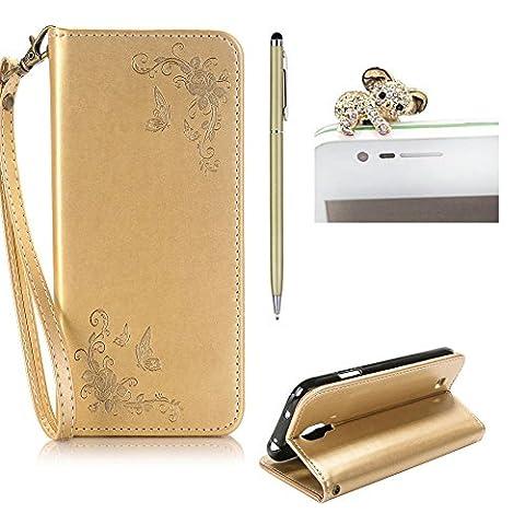 SKYXD für Samsung Galaxy S4 Hülle Leder Rosen Blumen und Schmetterlings Muster,PU Folio Klappbar SchutzHülle [Brieftasche Kartenfach / Magnet / Standfunktion / Trageschlaufe] KlappHülle für mit [Koala Handyanhänger + Eingabestift] 3 in 1 Zubehör Set Handy Tasche Etui für Samsung Galaxy S4 Bookstyle Flip Case Leather Cover With [Stylus and Dust Plug]-