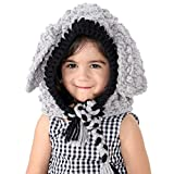 VAMEI Kinder Gestrickte Coif Hut Haube Schal Mützen Winter Warme Tier Hüte für Mädchen Jungen Kinder 3-10 Jahre (Grauer Hase)