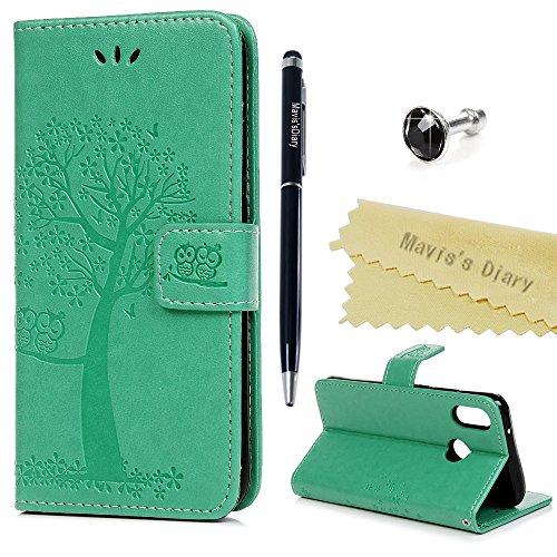 Huawei P20 Lite Hülle Case Mavis's Diary Eule Baum Muster Leder Tasche Handyhülle Flip Cover Schutzhülle Lederhülle Skin Ständer Schale Handtasche Bumper Magnetverschluss Klappbar Ledertasche-Mintgrün