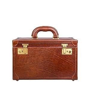 Maxwell Scott Bags® Luxus Leder Beauty Case in Cognac Braun (Bellino)