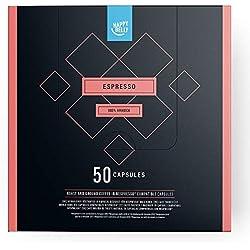 Marque Amazon - Happy Belly Espresso Café UTZ torréfié et moulu dans des capsules (compostables ) compatibles Nespresso, 50 capsules