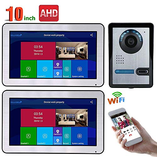 TKFY 10-Zoll-Monitore Video-Türsprechanlage Türklingel Intercom Entry System mit AHD 720P Wired IR-Cut-Kamera Nachtsicht-Fernbedienung APP Entsperren Aufnahme Snapshot,2screens Home Intercom-systeme