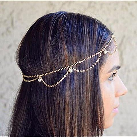 Gudeke Elegante Mujer Estilo Bohemio Multicapa Borla Headwear Cadena Diadema Banda para la Cabeza