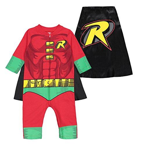 Warner Bros. Justice League Jungen Kostüm Overall Superman Batman Robin Flash 0-3 Months - 0 3 Monat Superheld Kostüm