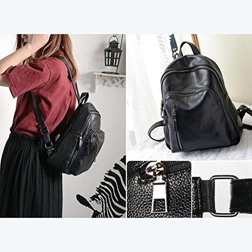 YINGER Frau PU Doppel-Umhängetasche Freizeit Wasserdicht Reisetasche 27 * 12 * 32 cm black