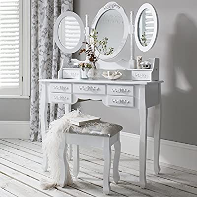 Monaco dressing table, stool and mirror, 7 drawers, 3 mirrors - low-cost UK light shop.