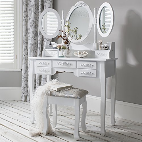 Schminktisch, Hocker und Spiegel, 7Schubladen, 3Spiegel, holz, weiß, Dimensions (L*W*H): 90 x 40 x 148 cm