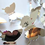 #9: SYGA 12Pcs 3D Decorative Silver Mirror Butterfly Wall Stickers