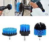 Cooljun 3pcs bohrmaschine Bürstenaufsatz - 2inch,3inch,4inch Power Scrubbing Auto Bürste für Auto, Teppich, Badezimmer, Holzboden, Waschküche exc (Blau)