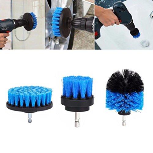 Cooljun 3pcs bohrmaschine Bürstenaufsatz - 2inch,3inch,4inch Power Scrubbing Auto Bürste für Auto, Teppich, Badezimmer, Holzboden, Waschküche exc (Blau) -