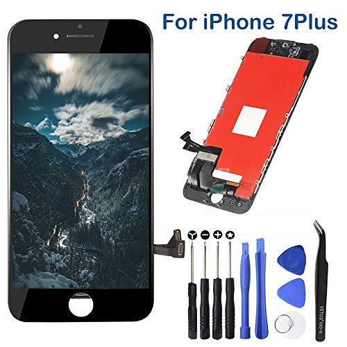 TPEKKA Display Ersatz für iPhone 7 Plus Display Bildschirm-LCD Touchscreen Digitizer Display-Front Glas Panel mit Reparatur Komplett Set Werkzeuge für iPhone 7 Plus Screen Schwarz, 5.5 Zoll