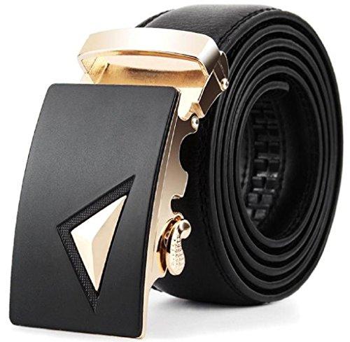 Rcool Herren Leder automatische Schnalle Gürtel Mode schwarz (BK), (Jahre 80er Mann Mode)