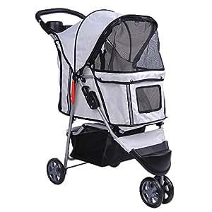 PawHut Buggy für Hunde / Katzen Pet Stroller 3 Räder inklusive Becherhalter, grau