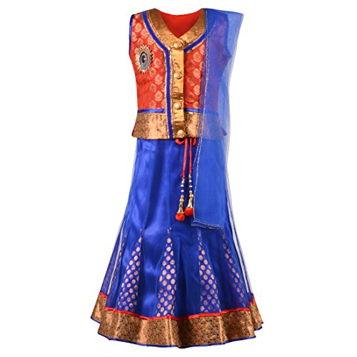 Aarika Girl's Self Design Party Wear Lehenga Choli Set (545-RED-BLUE_18_2-3 Years)