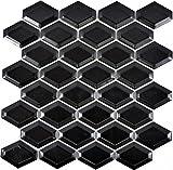 Mosaik Fliese Keramik Diamant Metro schwarz matt für WAND BAD WC DUSCHE KÜCHE FLIESENSPIEGEL THEKENVERKLEIDUNG BADEWANNENVERKLEIDUNG WB13MD-0311