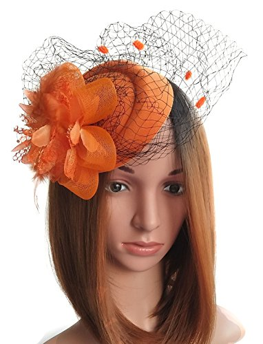 Fascinator Hut-Pillbox-Hut Britischer Bowler-Hut-Blumen-Schleier-Hochzeits-Hut-Tee-Party-Hut (Orange)