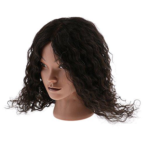 Sharplace Tête De Mannequin De Formation De Cosmetologie Coiffure Cheveux Naturel Bouclé Longueur 40 cm