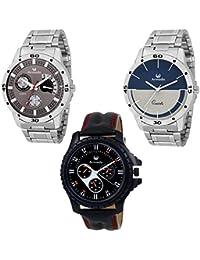 Armado Analogue Grey Dial Men's Watches - Combo of 3