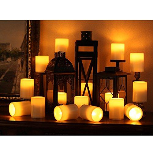 Home Impressions de plástico vela de LED, sin Llama Pilar velas LED con temporizador, funciona con batería, Home Decoración para Habitación, Marfil, 3x 4pulgadas