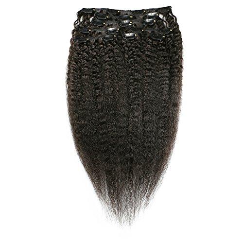 Afro Verworrene Gerade Clip In Haarverlängerungen 8A Grade Remy Haarspange in Vollen Kopf Haar Natürliche Farbe Für Schwarze Frauen 8 Stücke / 80G (14INCH/35CM)