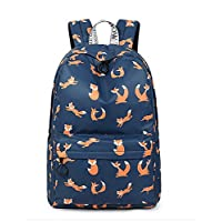 "Acmebon Water Resistant Fashion College Backpack with 15.6"" Laptop Pouch Cute Bookbag for Teen Girls Blue Fox"