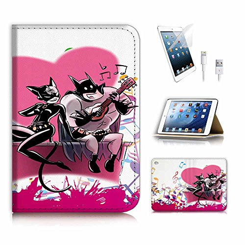 iPad Mini Generation 4 Flip Wallet Schutzhülle & Displayschutzfolie & Ladekabel Bundle. A4074 Batman Catwoman