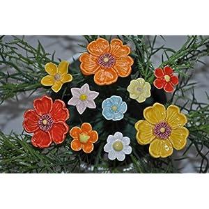 10 Keramikblumen: Gemischt, bunt ca. 2-3 cm und 5,00 cm von SylBer-Ceramics aus Markkleeberg