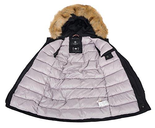 Marikoo Damen Winter Jacke Parka Mantel Winterjacke warm gefüttert B362 Schwarz