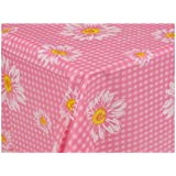 Cuisine Elegance Table Cloth Reusable for Outdoor Tableware - Rectangle 130x180cm (Pink)