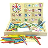 Jialeey Wooden Mathematics Toys Calculate The Game Box Stickers Count Number Card Clock Maths Operation Learning Board Easel For Age 3 4 5 Years Old And Up Kid Children Baby Toddler Boy