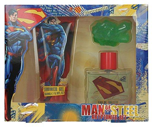 Superman Triple Set - 1x Eau de Toilette Vaporisateur/Spray 50 ml, 1x Duschgel 150 ml, 1x Kryptonit Seife, 1er Pack (1 x 0.19 kg)