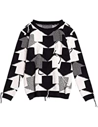 SGHTRHXUT suéter Chaqueta de Punto suéter de Pelo de Conejo suéter de Punto de Flecha Suelta Manga de Choque suéter de Punto, Color de Imagen, código Uniforme