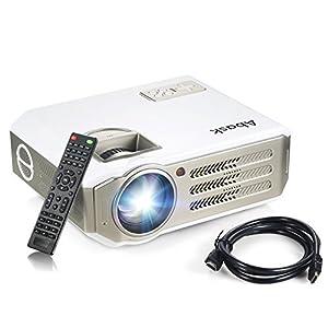 Vidéoprojecteur, Abask 1080P HD 3100 Lumens LCD Portable Théâtre Domestique Multimédia , Soutenir HDMI, USB, AV, VGA, pour le TV,/Xbox/Jeux Video/ HD Vidéo Entrées Cinéma Privé Divertissements à Domicile (Câble HDMI Gratuit)