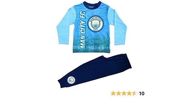 Boys Official Manchester City Football  Long 100/% Cotton Pyjamas Set 4-12 Y