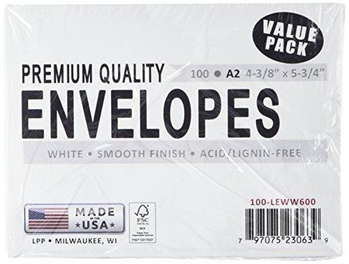 Leader Papier Produkte Leader A2Briefumschläge 4,375X 14,6cm 0, weiß