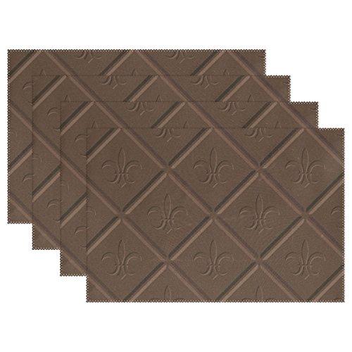 naanle Fleur de Lis Schokolade Farbe Rauten Platzdeckchen Set von 1/4/6waschbar Tisch Matte für Küche Esstisch 30,5x 45,7cm Platzsets Traditionell schokoladenbraun (Chevron-kunststoff-tabelle Für)