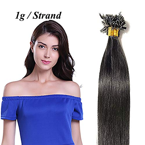 55cm extension cheratina 1 grammo capelli veri neri 50 ciocche u tip hair extensions 100% remy human hair umani naturali 50g #1 jet nero