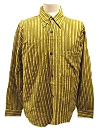 Chemise à manches longues pour hommes -Rayé Vert clair / foncé - imprimé à la main avec des blocs de bois sculpté à la main- 100% coton - Commerce équitable