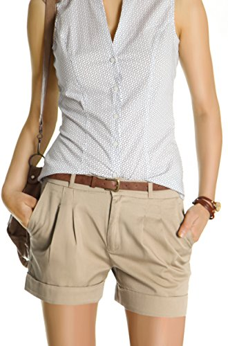 Bestyledberlin Damen Shorts, kurze Chino Hosen, Damenhosen, Bundfaltenhosen j161p 40/L beige