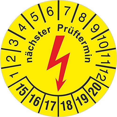 Preisvergleich Produktbild Prüfplakette nächster e-Check Elektrocheck / Elektro Prüfung 30 mm rund 2015-2020 500 Stück