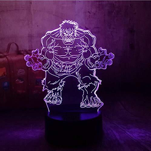 Marvel The Avengers Super-héros Minifigures The Hulk 3D LED 7 Changement de Couleur Nuit Lumière Couleur Bureau Bébé Sommeil Lampe Garçon Enfant Cadeau