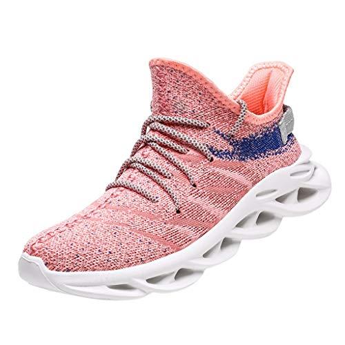 HDUFGJ Damen Herren Sneaker Mesh Atmungsaktiv Laufschuhe Outdoor-Schuhe Freizeitschuhe Fitnessschuhe rutschfeste Leichtgewicht Bequem Herbst Sommer Fliegendes Weben Flache Schuhe 37(Rosa)