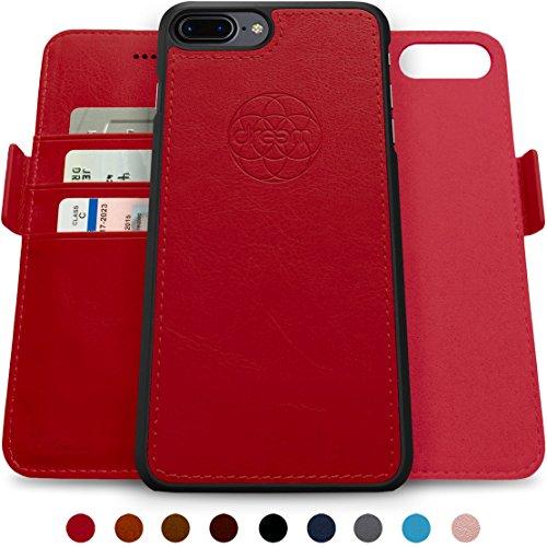 Dreem Fibonacci Brieftasche & Schutz-Hülle für iPhone 7/8-Plus, magnetisches herausnehmbare TPU Case, dünn bruchfest, 2 Standfunktionen, hochwertige synthetische Leder-Tasche, RFID Schutz - Rot