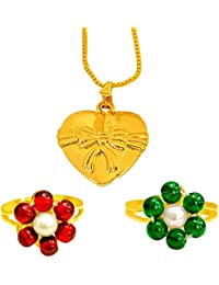 Surat Diamonds Heart & Bow Shaped Gold Plated Pendant And 2 Colored Stone & Pearl Adjustable Ring Set For Women...